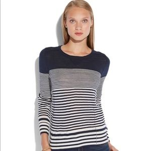 Lucky Brand navy and white abstract strip sweater
